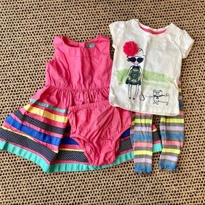 Two Toddler Outfits Pink Dress Shirt Pants Summer